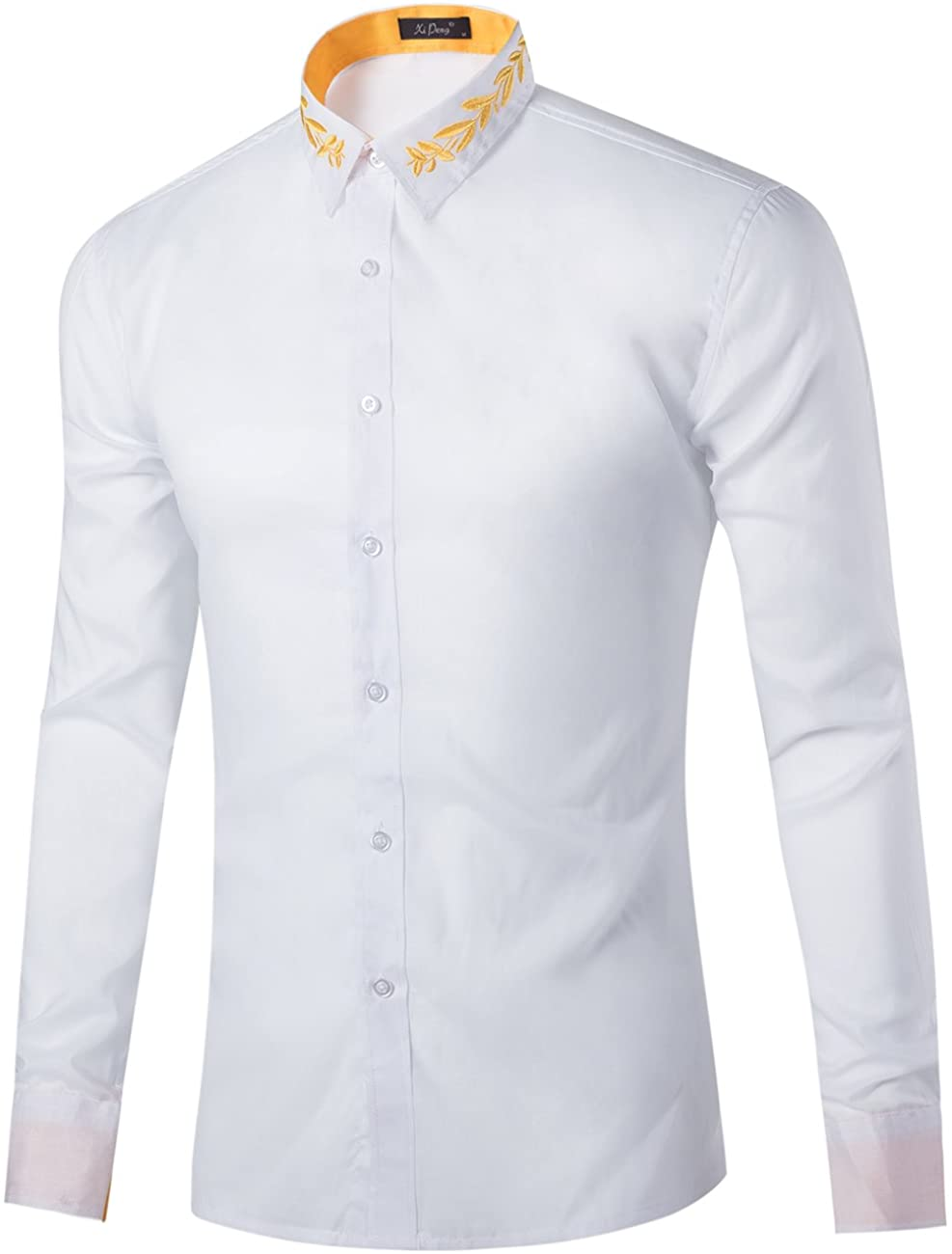 XI PENG Men's Casual Long Sleeve Floral Embroidered Button Down Collared Dress Shirts