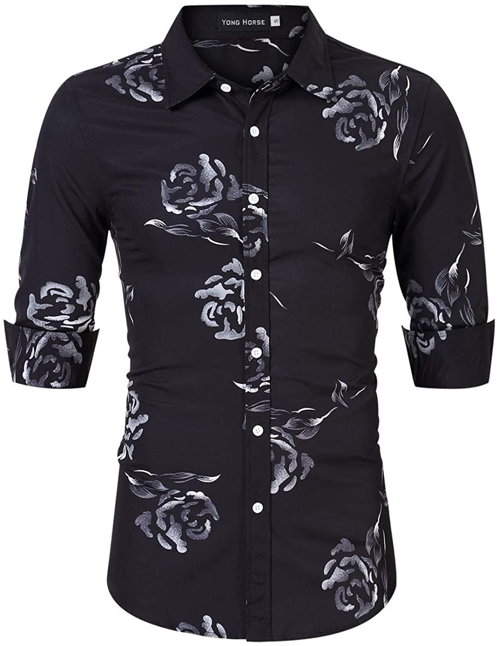 Yong Horse Men's Floral Printed Beach Hawaiian Casual Button-Down Dress Shirts, Black, XL
