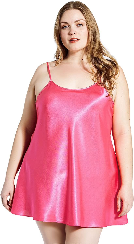 Jovannie Short Length Satin Chemise Plus Size Sleepwear Nightgown Full Slip Dress Babydoll
