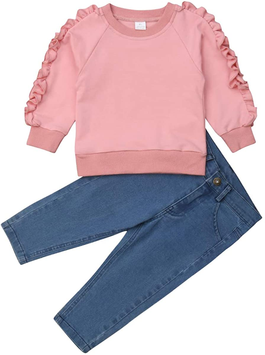 2Pcs Kids Toddler Baby Girl Long Sleeve T-Shirt Tops+Floral Pants Outfit Set Fall Clothes (Pink+Jeans, 1-2T)