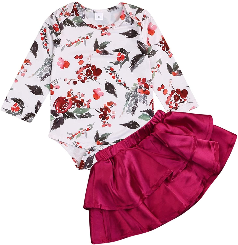 Kids NewbornBaby Girls Fall Outfits Floral Print Romper Jumpsuit Shirt Tops+Tutu Skirt Dresses Clothes Set