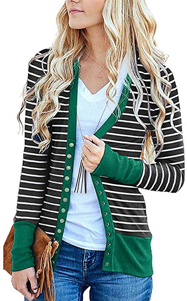 Womens Cardigan Sweaters Knitwears Long Sleeve Striped Button Down Cardigans Green Small