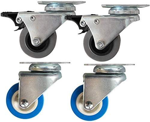 Furniture castors (4pcs) 2 inch double row wheel blue polyurethane PU washing machine console wheel drum chassis footwheel universal wheel with brake