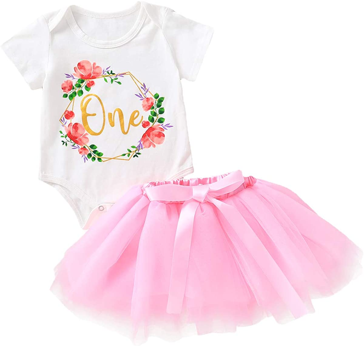 OUTGLE Newborn Baby Girl Ruffle Romper + Tutu Skirt + Headband First Birthday Party Outfits Set