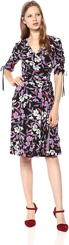 Donna Morgan Women's Floral Jersey Wrap Dress