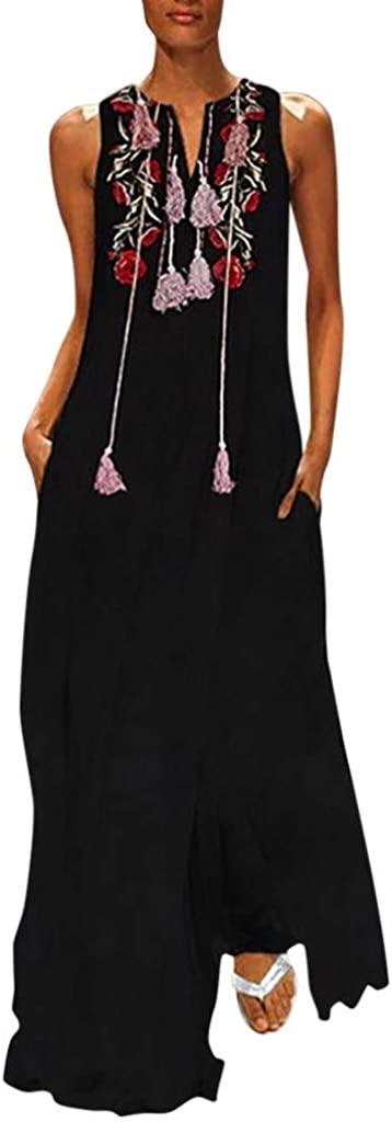 Womens 80s Boho Maxi Dress, Vintage Cotton-Blend Floral with Pocket Dresses