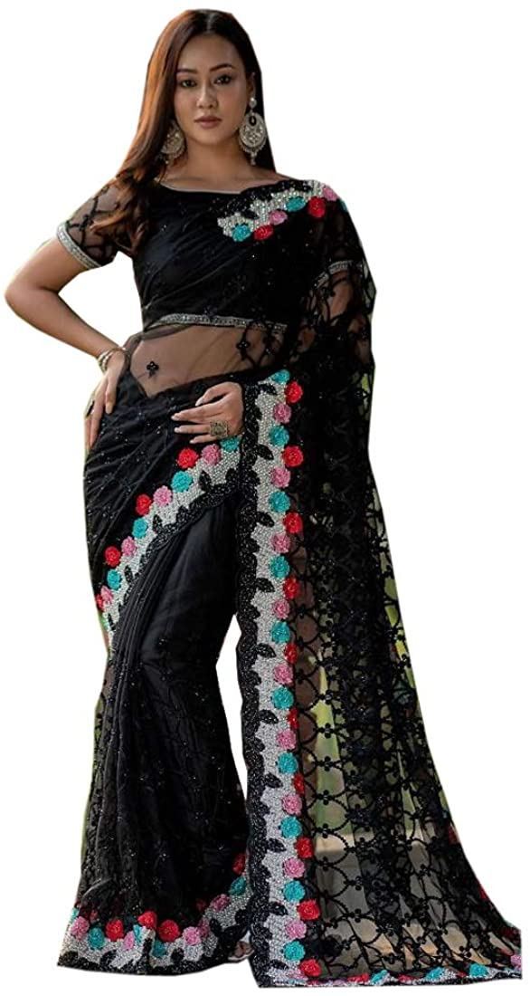 Black Party Wedding Pure Net Sari Indian Pearl Embellished Designer Saree Blouse Cocktail Eid Muslim 354/E My