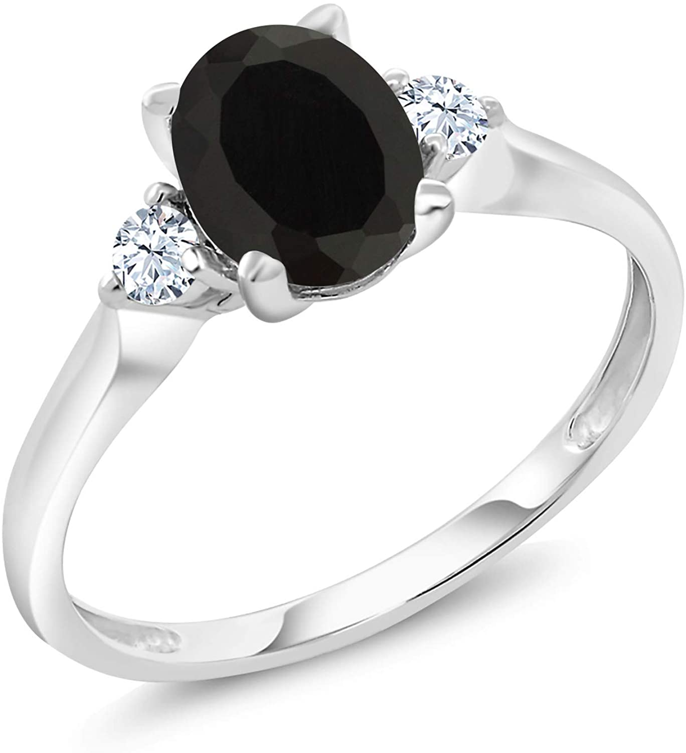 Gem Stone King 10K White Gold Black Onyx and White Created Sapphire 3-Stone Women's Engagement Ring 1.35 Ctw (Available 5,6,7,8,9)