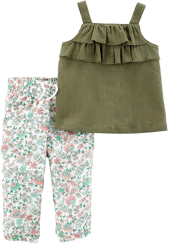 Carter's Baby Girls' 2-Piece Gauze Tank & Floral Jogger Set Olive