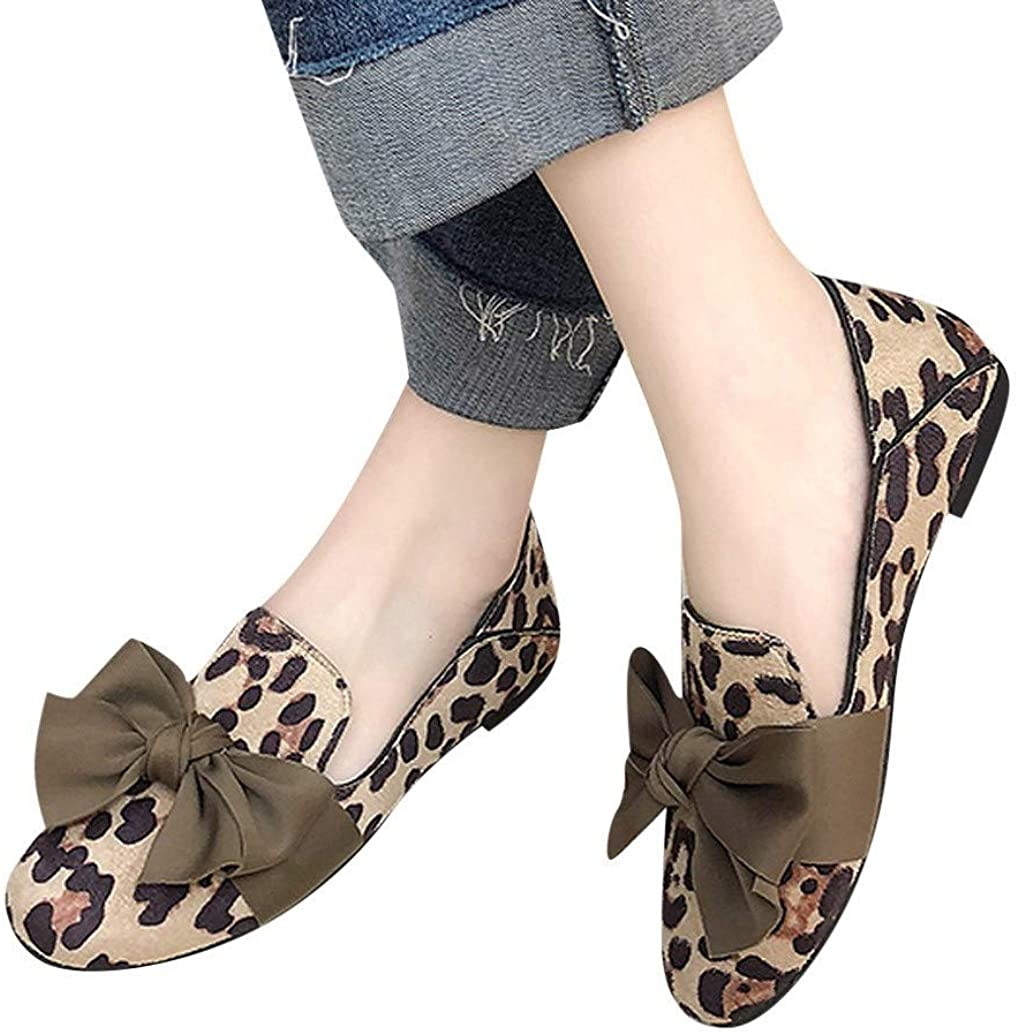Women Fashion Bow Leopard Soft Casual Peas Shoes Round Toe Work Shoes Shallow Single Shoes by Nevera