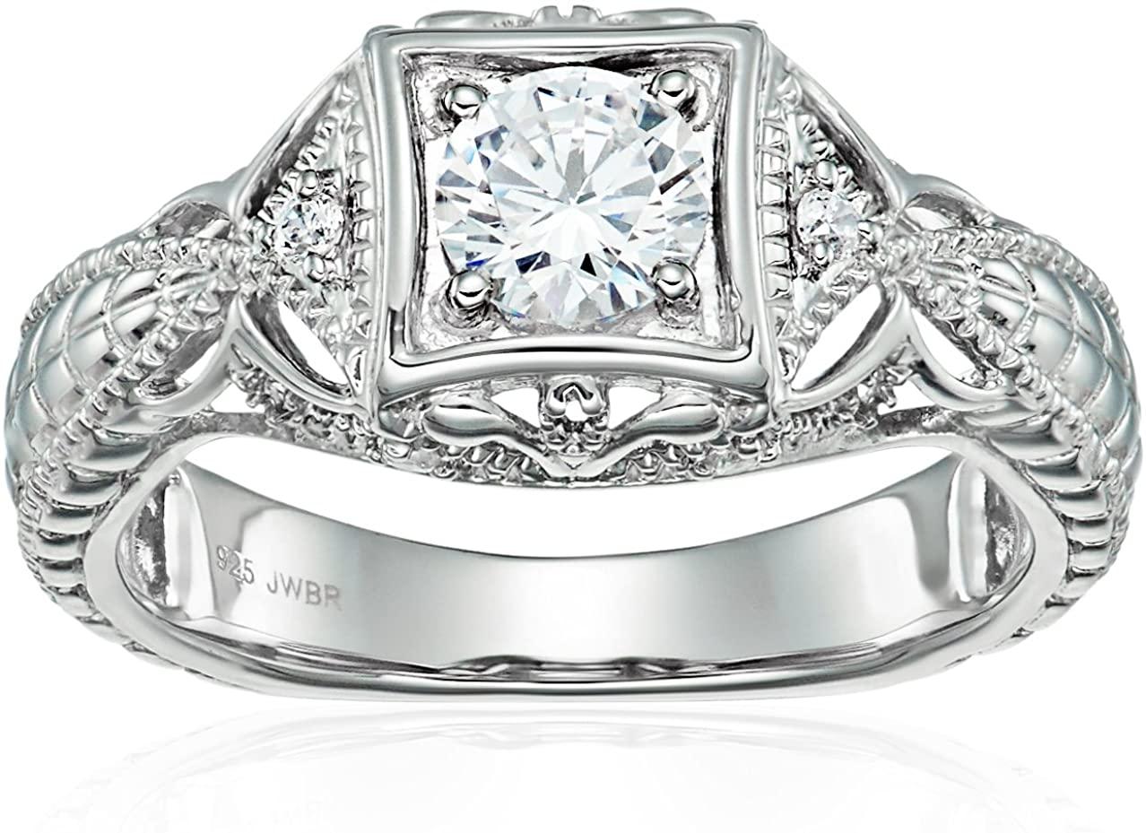 Jewelili Sterling Silver Cubic Zirconia Vintage Wedding Engagement Ring