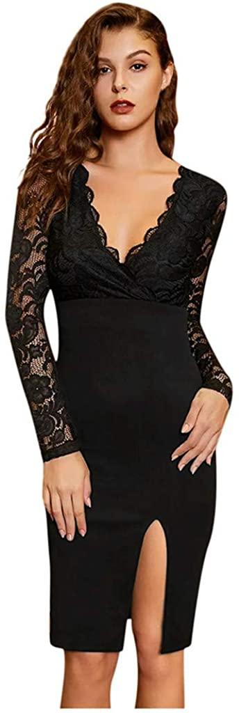 Ninasill Womens Party Dress Fashion Long Sleeve V Neck Lace Patchwork Knee Length Evening Dress