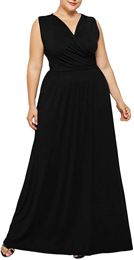 Muicook Sleeveless Long Dress for Women Plus Size Fashion V-Neck Solid Color Casual Dress