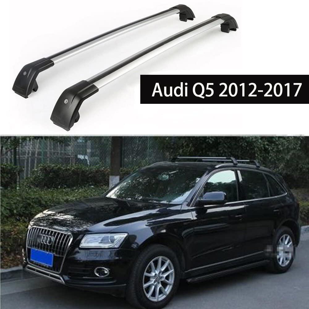 KPGDG Fit for Audi Q5 2012-2017 Lockable Baggage Luggage Racks Roof Rack Rail Cross Bar Crossbar - Silver