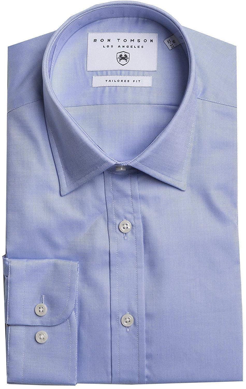 RNT23 JEANS Ron Tomson Tonal Accents Dress Shirt - Light Blue-2