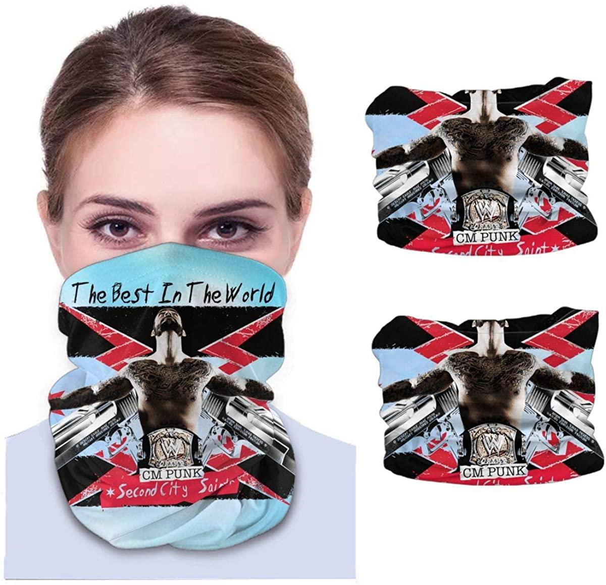Cm Punk Neck Gaiter Face Scarf-Dust, Sun Protection Cool Lightweight Windproof