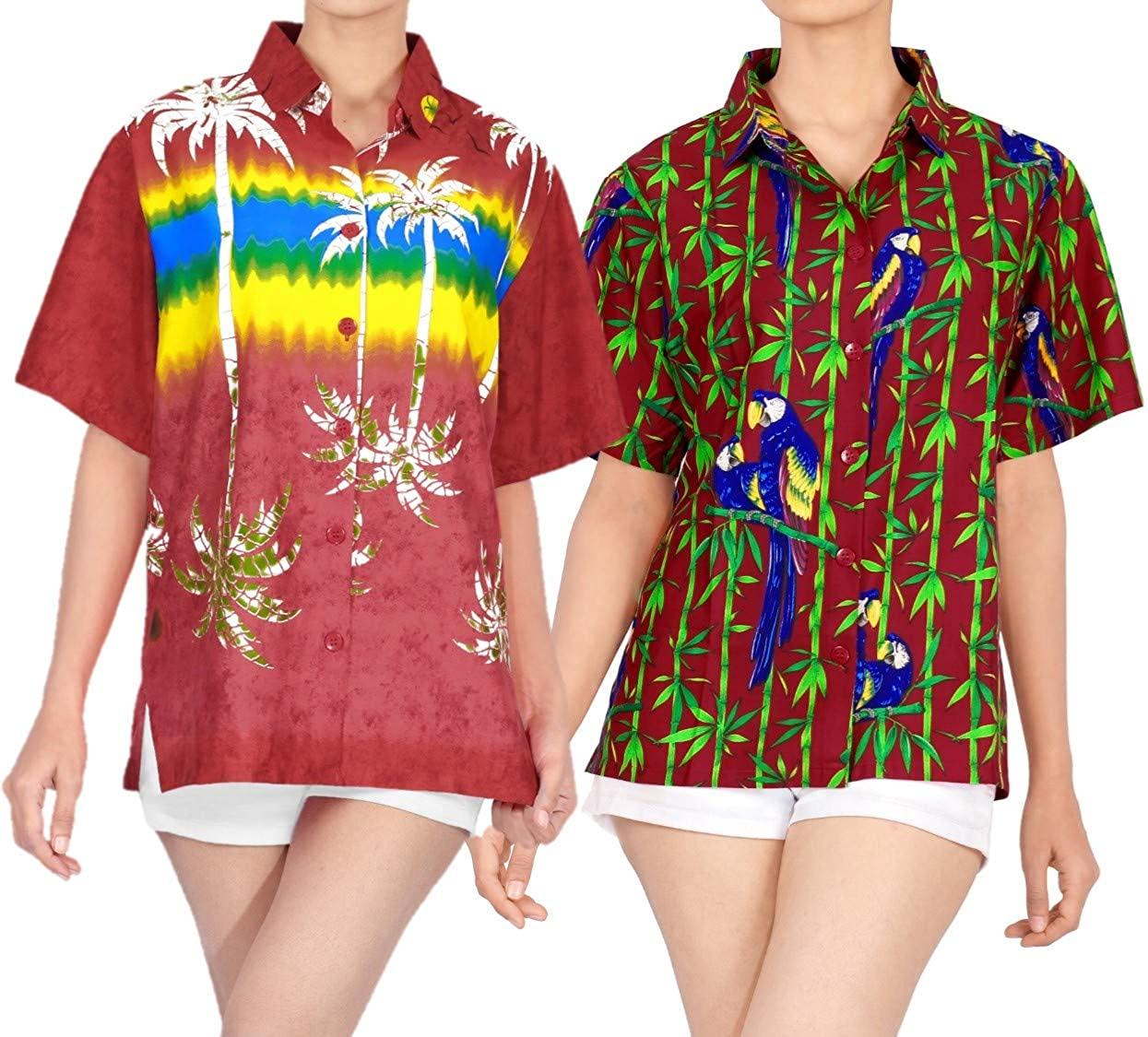 LA LEELA Women's Beach Hawaiian Shirt Regular Fit Short Sleeve Shirt Work from Home Clothes Women Beach Shirt Blouse Shirt Combo Pack of 2 Size XL