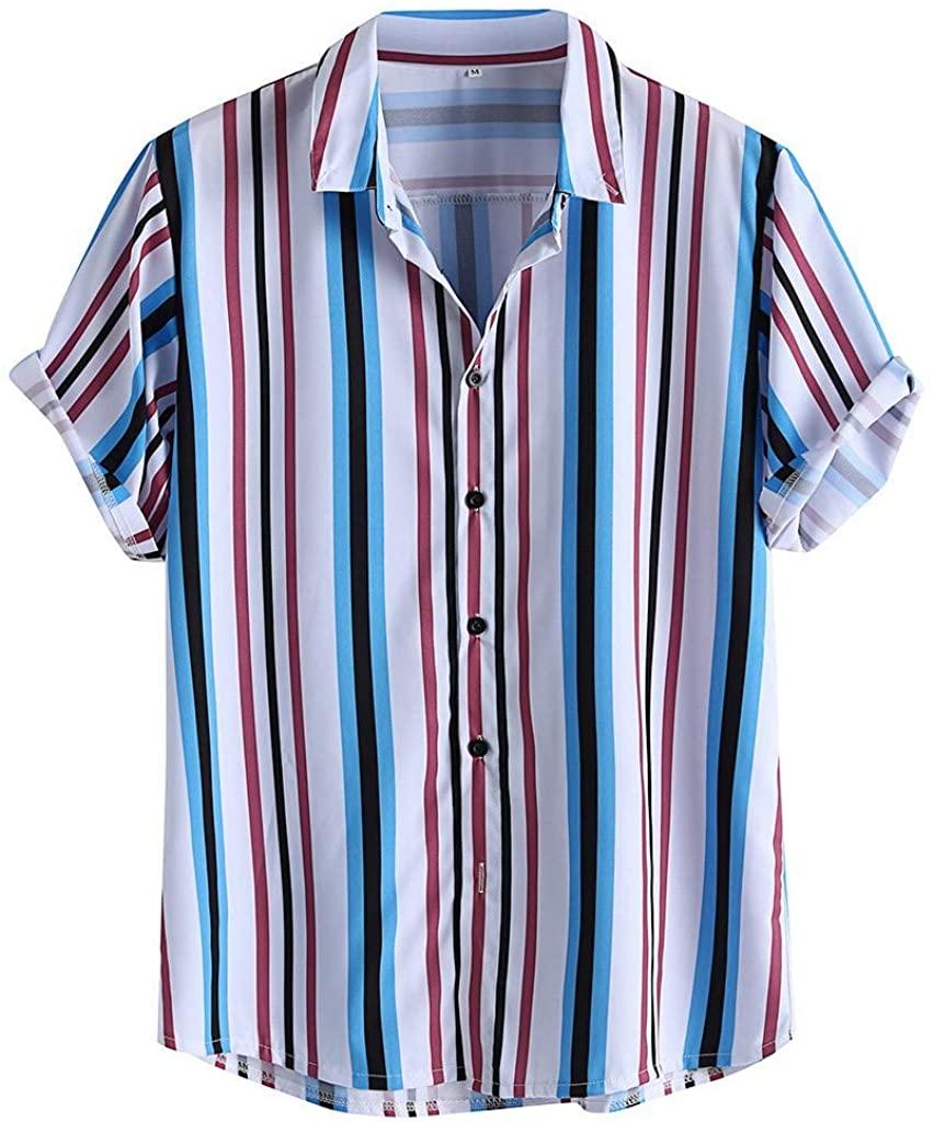 Honestyivan Men's Striped Print Hawaiian Shirt Lapel Button Up Loose Breathable Casual Beach Shirt Tops Summer