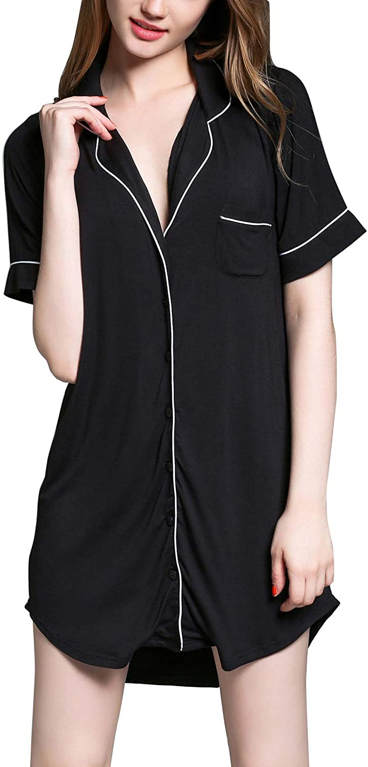 Lu's Chic Women's Button Down Nightgowns Short Sleeves Nightdress Soft Boyfriend Sleepshirt