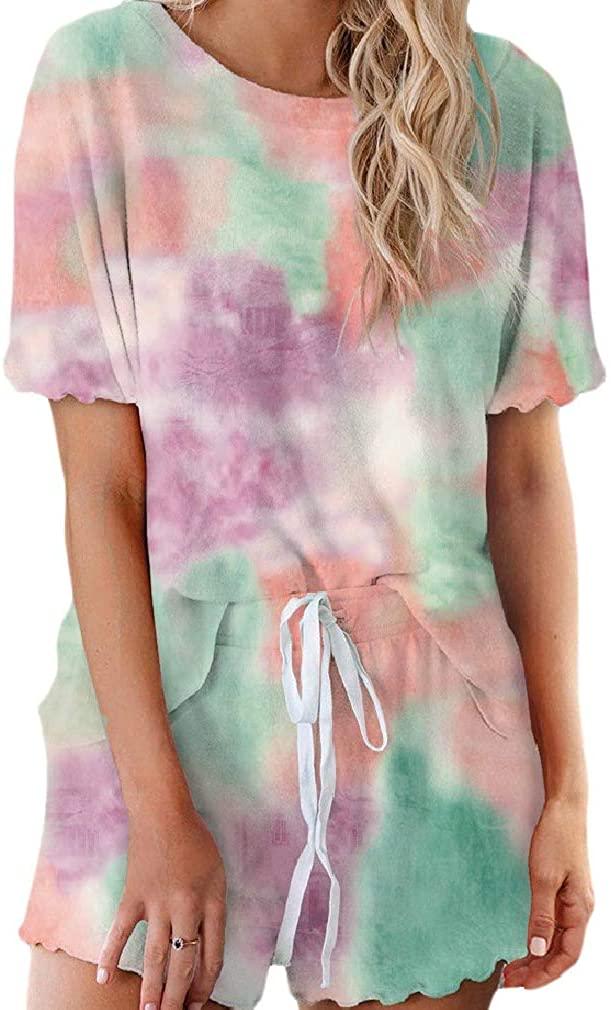 Unastar Womens T Shirts Shorts All-Over Graphic 2 Piece Short Sleeve Homewear