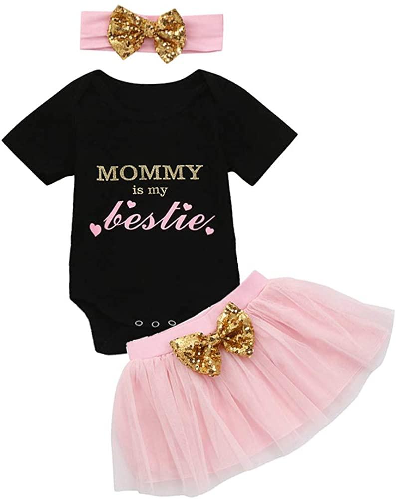 Newborn Baby Girl Mommy is My Bestie Short Sleeve Romper + Tutu Skirts + Bowknot Headband Summer Clothes Set
