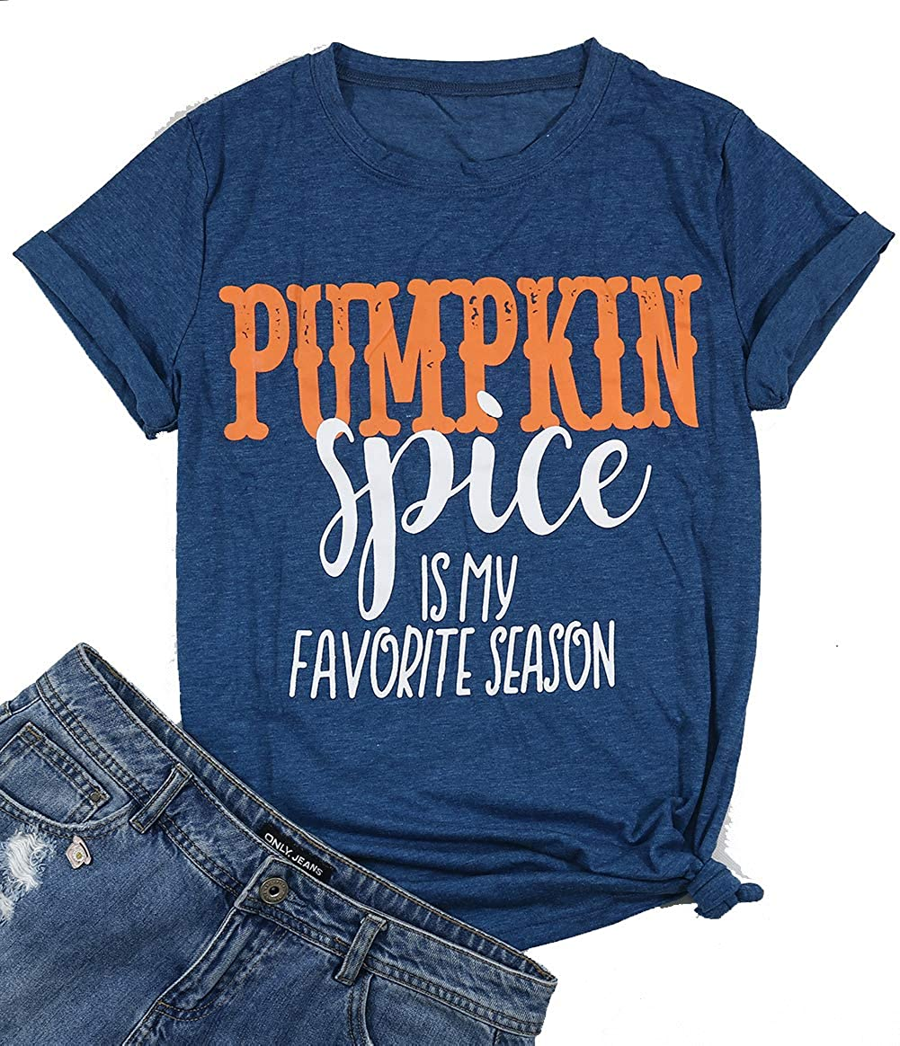 MAXIMGR Meet Me at The Pumpkin Patch Letter Print T Shirt Women Casual Graphic V-Neck Short Sleeve Fall Tops Tee