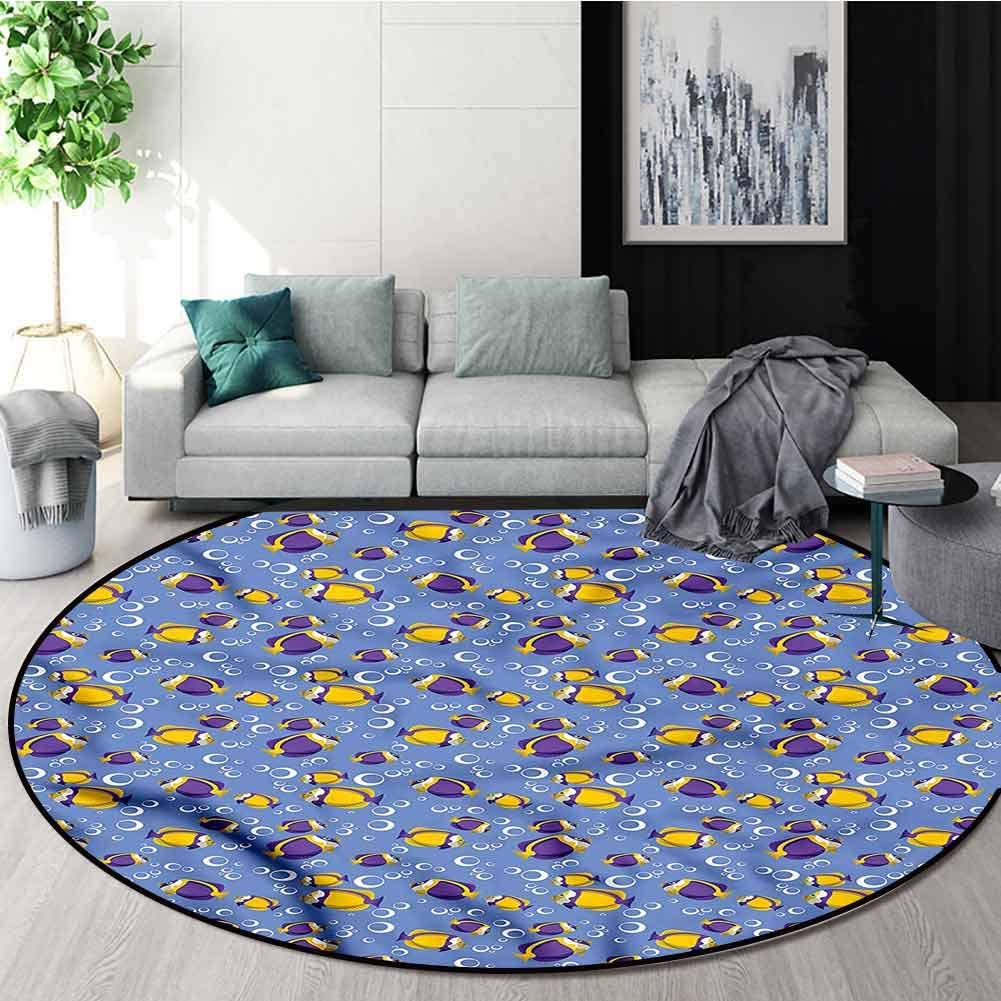 RUGSMAT Yellow and Blue Round Area Rug,Fishes Bubbles Non Slip Rug Diameter-31