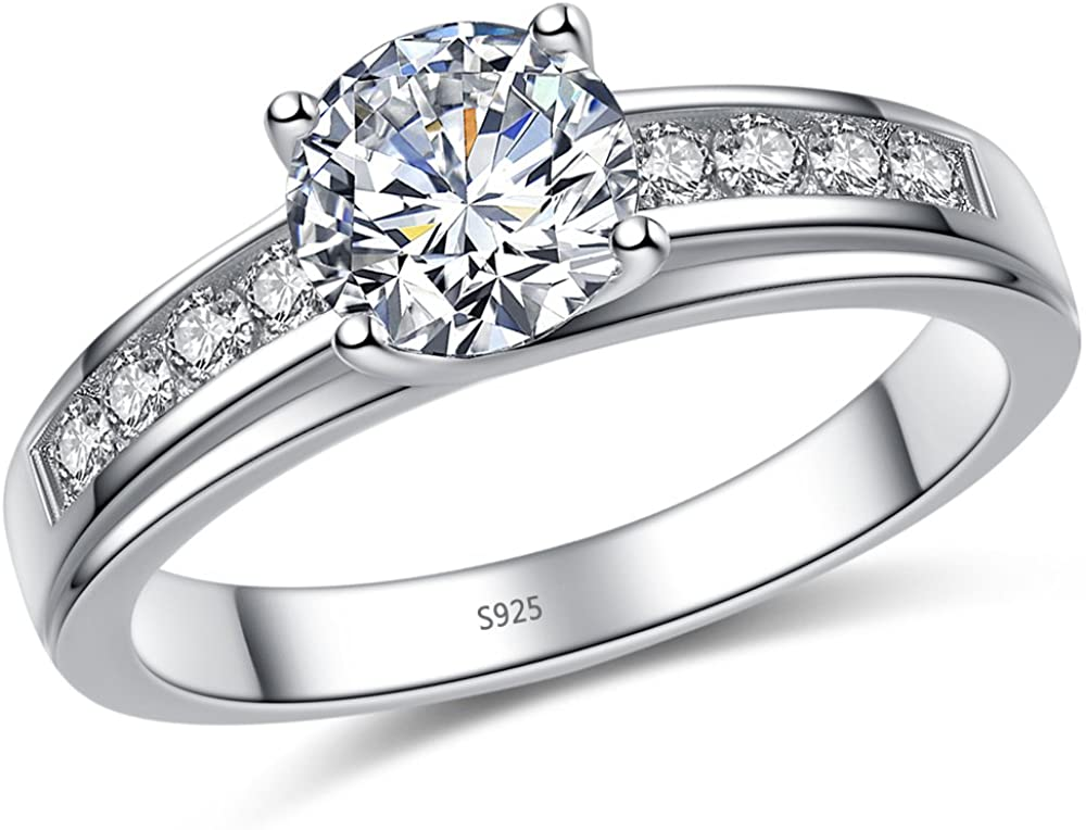 MABELLA Solid 925 Sterling Silver Solitaire Round Clear Cubic Zirconia Rings Engagement Ring for Women Size 10