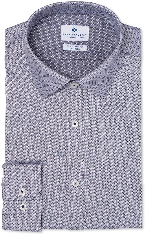 Ryan Seacrest Mens Dress Shirt Geo Print Slim Fit