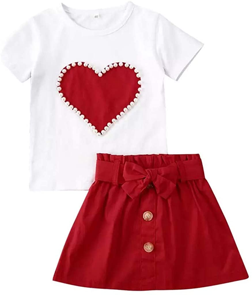 Toddler Baby Kid Girls Outfits Short Sleeve T-Shirt Top+Skirt Clothing Set Kids Heart Pearl Tops Tee Clothes
