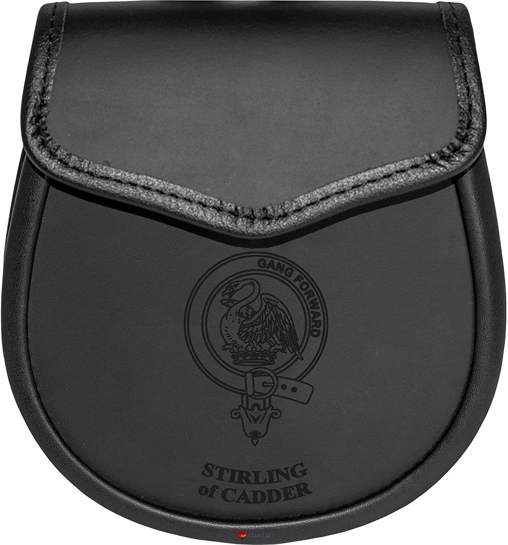 Stirling of Cadder Leather Day Sporran Scottish Clan Crest