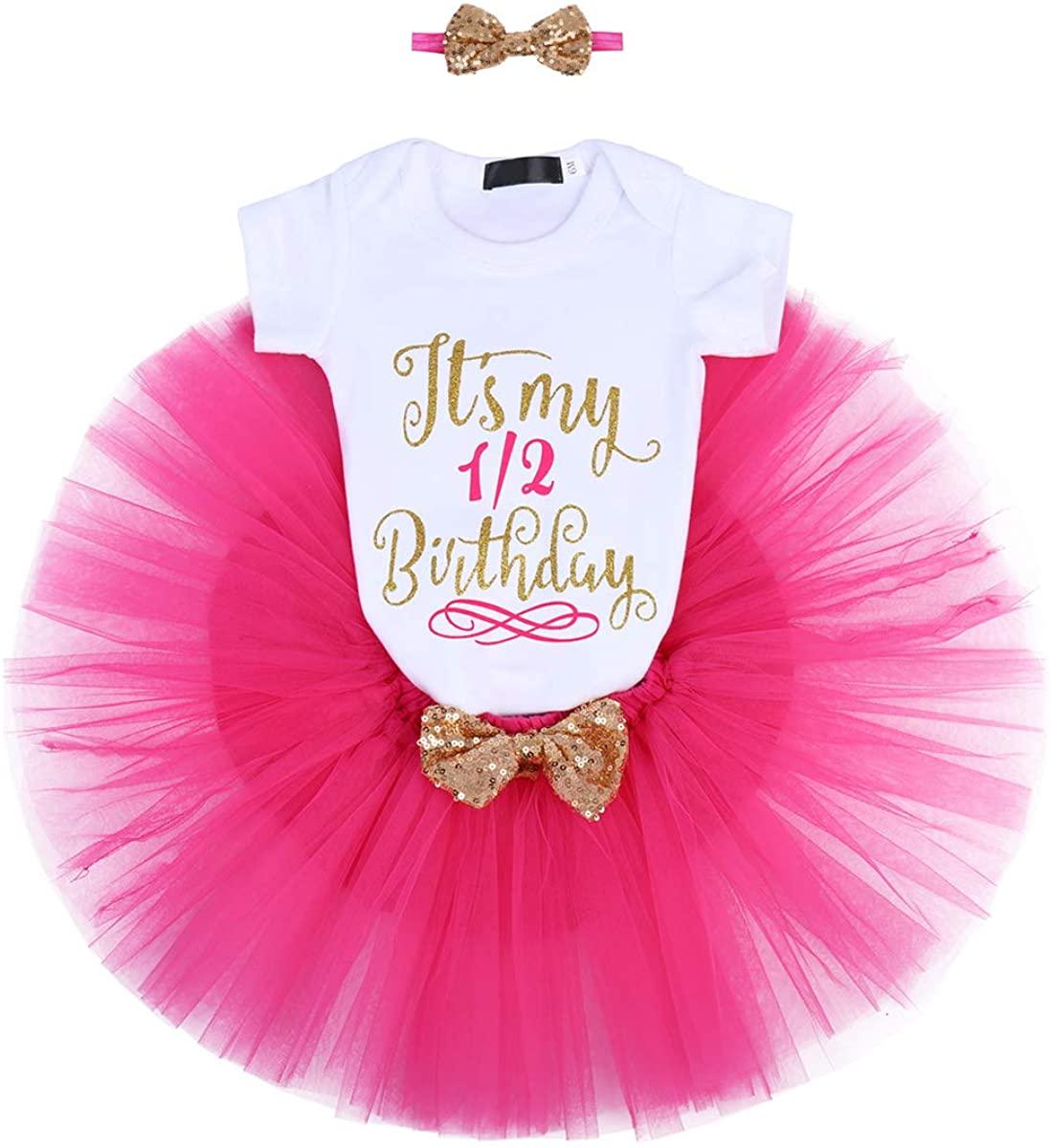 ODASDO Baby Girl First Second Half Birthday Cake Smash Outfit Princess Tutu Dress Romper + Skirt + Headband 3pcs Set