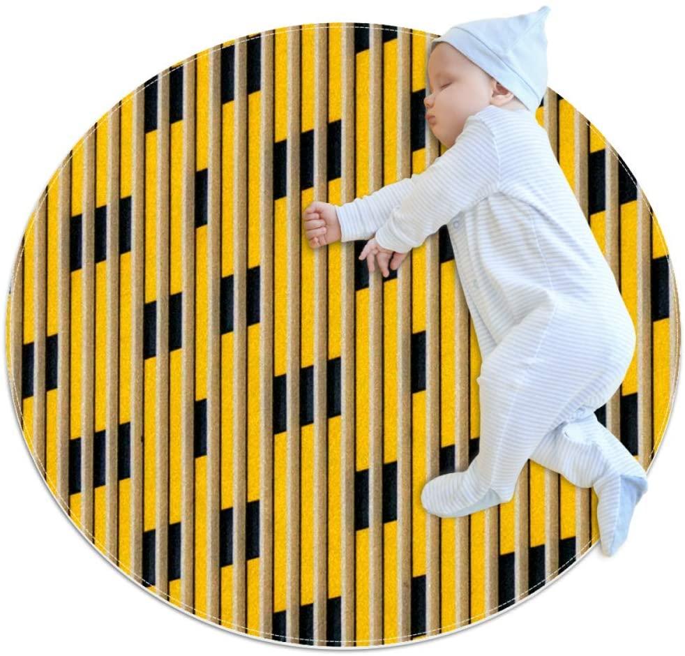 Yellow Circular Baby Play mat Crawling mat Sleeping mat Cushion Non Slip mat Children's Toddler Bedroom,39.4x39.4IN