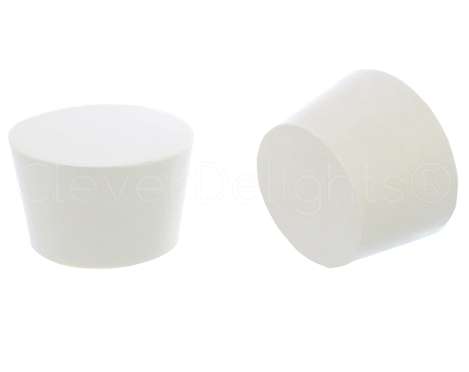 3 Pack - CleverDelights Solid Rubber Stoppers | Size 12 | 62mm x 51mm - 38mm Long - White Lab Plug #12