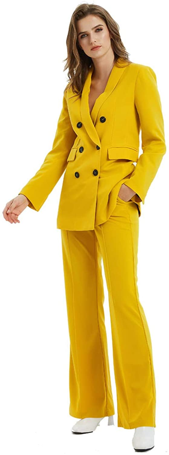 Women's Formal Double Breated Blazer 2 Pieces Suits for Prom/Wedding/Business