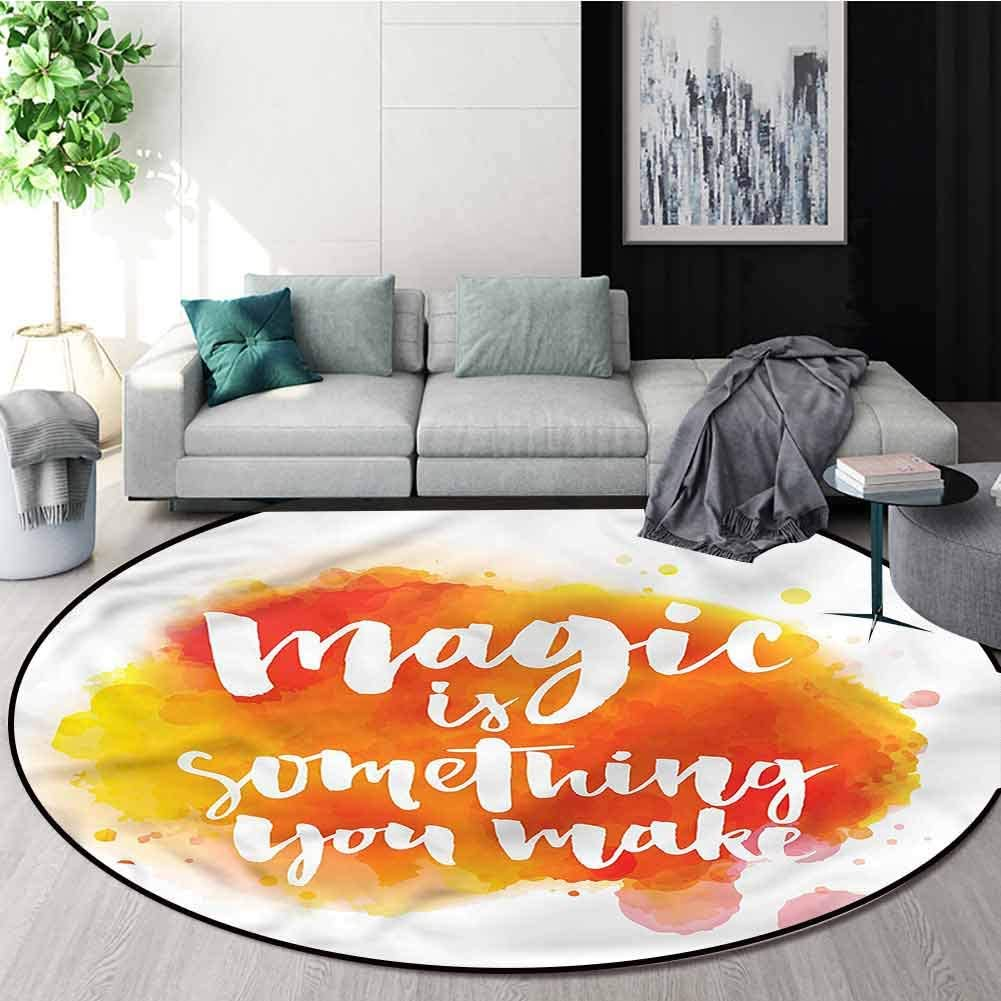 RUGSMAT Quote Modern Flannel Microfiber Non-Slip Machine Round Area Rug,Magic Theme Positivity Learning Carpet Non Skid Nursery Kids Area Rug for Playroom Diameter-47