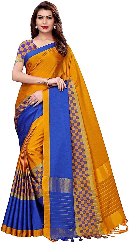 Indian Decor & Attire Women's Art Silk Saree Border Tassels with Blouse Piece(Free Size) Yellow