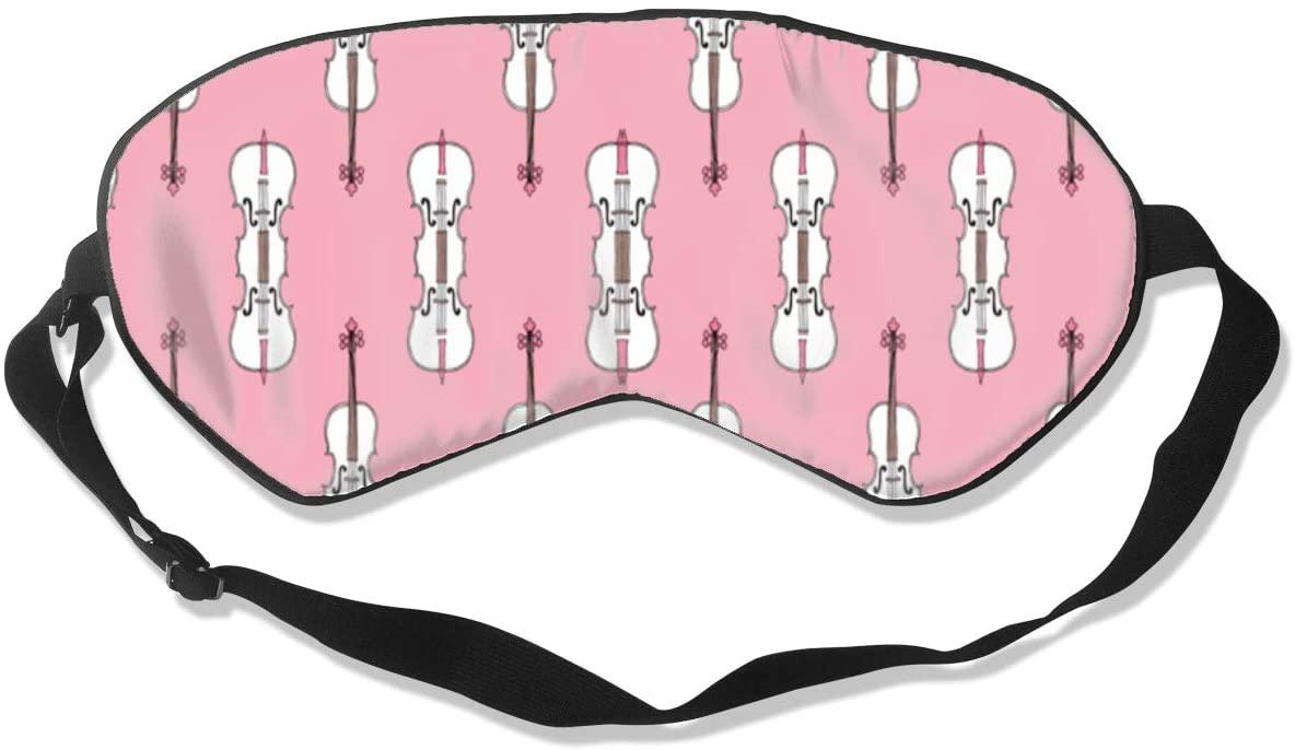Violin Pink Pattern Eye Mask Sleeping Mask 100% Double-Sided Silk Eyeshade Eye Cover