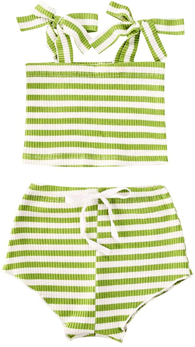 Baby Girls Stripe Outfits Summer Baby Girls Knited Clothes Sets Tie-up Shoulder Strap Tube Top + Short Pants 2PCS Outfits