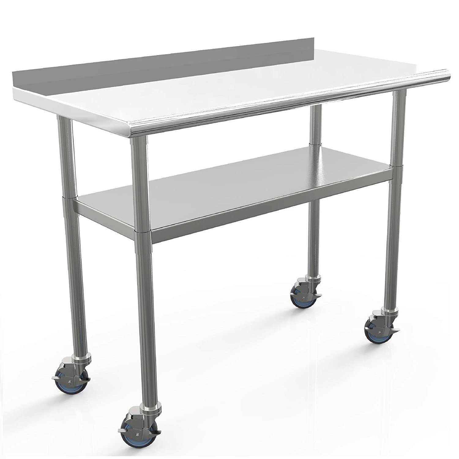 Commercial Work Table NSF Stainless Steel Table 48 x 24 Inches Heavy Duty Workbench Industrial Restaurant Food Work Tables for Shop Worktop with 1 1/2