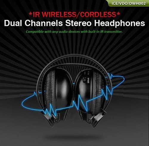 Pupug 1 Wireless Audio-Chat Headphone Earphone Black for MP3/MP4 PC TV CD FM Radio IR DVD Player Head Phones Channel Folding Universal Rear Entertainment System Infrared Headphones