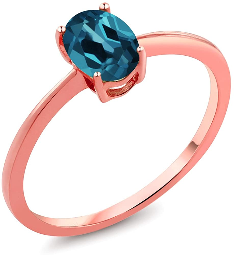 Gem Stone King 0.90 Ct Oval London Blue Topaz 10K Rose Gold Solitaire Engagement Ring