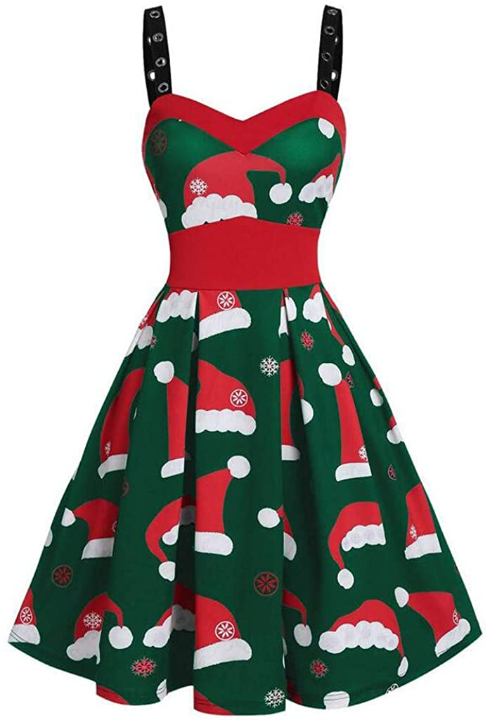 GLVSZ Womens Vintage Cold Shoulder Strap Sleeveless Christmas Santa Cocktail A-line Swing Midi Casual Party Dress