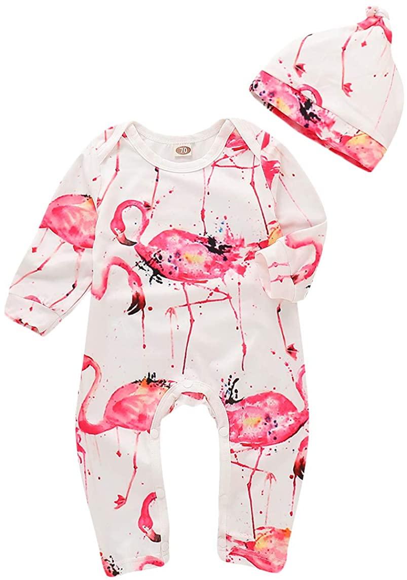 Newborn Baby Flamingos Christmas Jumpsuit Infant Boys Girls Cartoon Animal Plants Romper Outfit 2Pcs Xmas Clothes Set