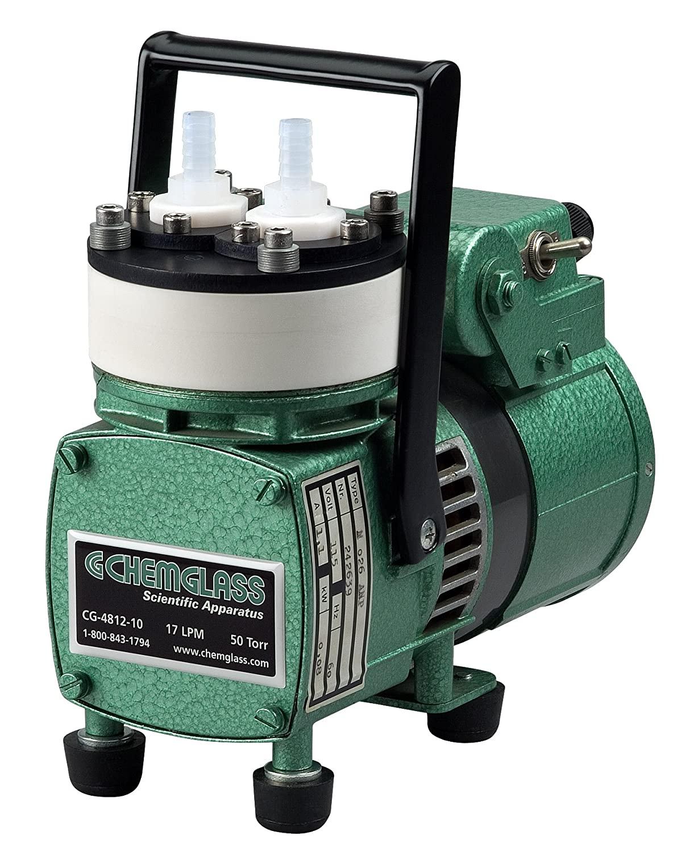 Chemglass CG-4812-10 Metal/PTFE Vacuum Pump, Diaphragm 17 LPM, 50 Torr, Single Head, 14