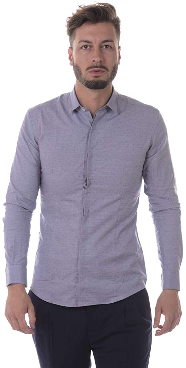Daniele Alessandrini - Men'S Shirt C1560B10963606 Blue English FACE Shirt
