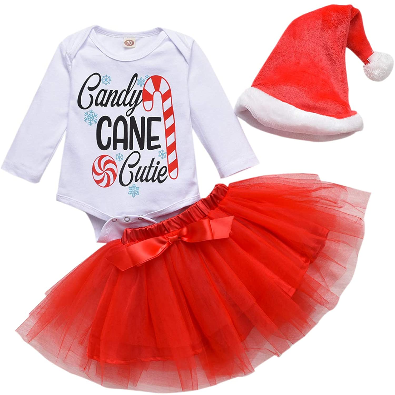 Christmas Outfits Toddler Baby Girl Skirts Sets Letters Romper + Tutu Dress + Xmas Hat Christmas Party Clothes