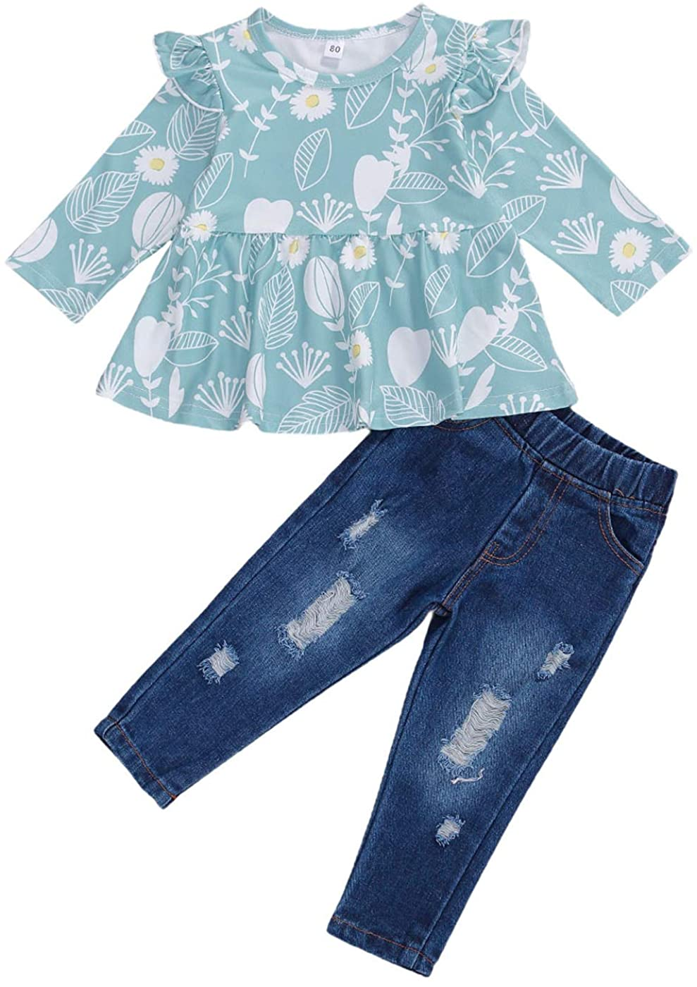 Toddler Baby Girl Floral Ruffle Top Long Sleeve Shirts Blouse Distressed Jeans High Waist Denim Pants Outfits