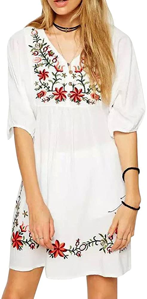 TWGONE Mexican Embroidered Dresses for Women Ethnic Hippie Half Sleeve Blouse Gypsy Boho Mini Dress