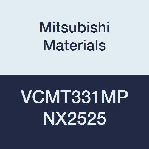 Mitsubishi Materials VCMT331MP NX2525 Uncoated Cermet VC Type Positive Turning Insert with Hole, Stable Cutting, Rhombic 35°, 0.375